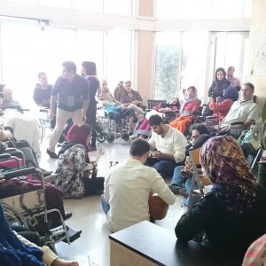 -The care center for patients with multiple sclerosis . We sometimes go and collect money to buy wheelchairs