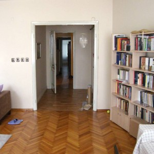 I live in a huge four-room apartment in Istanbul.<br /> My girlfriend and I share it with our beloved cat.