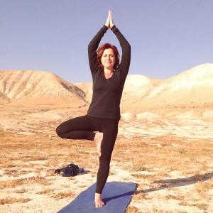 Yoga at sunrise near Jericho