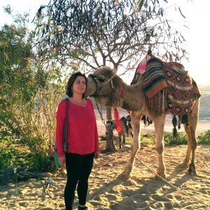 A little surpised by a very romantic camel at Nabi Musa